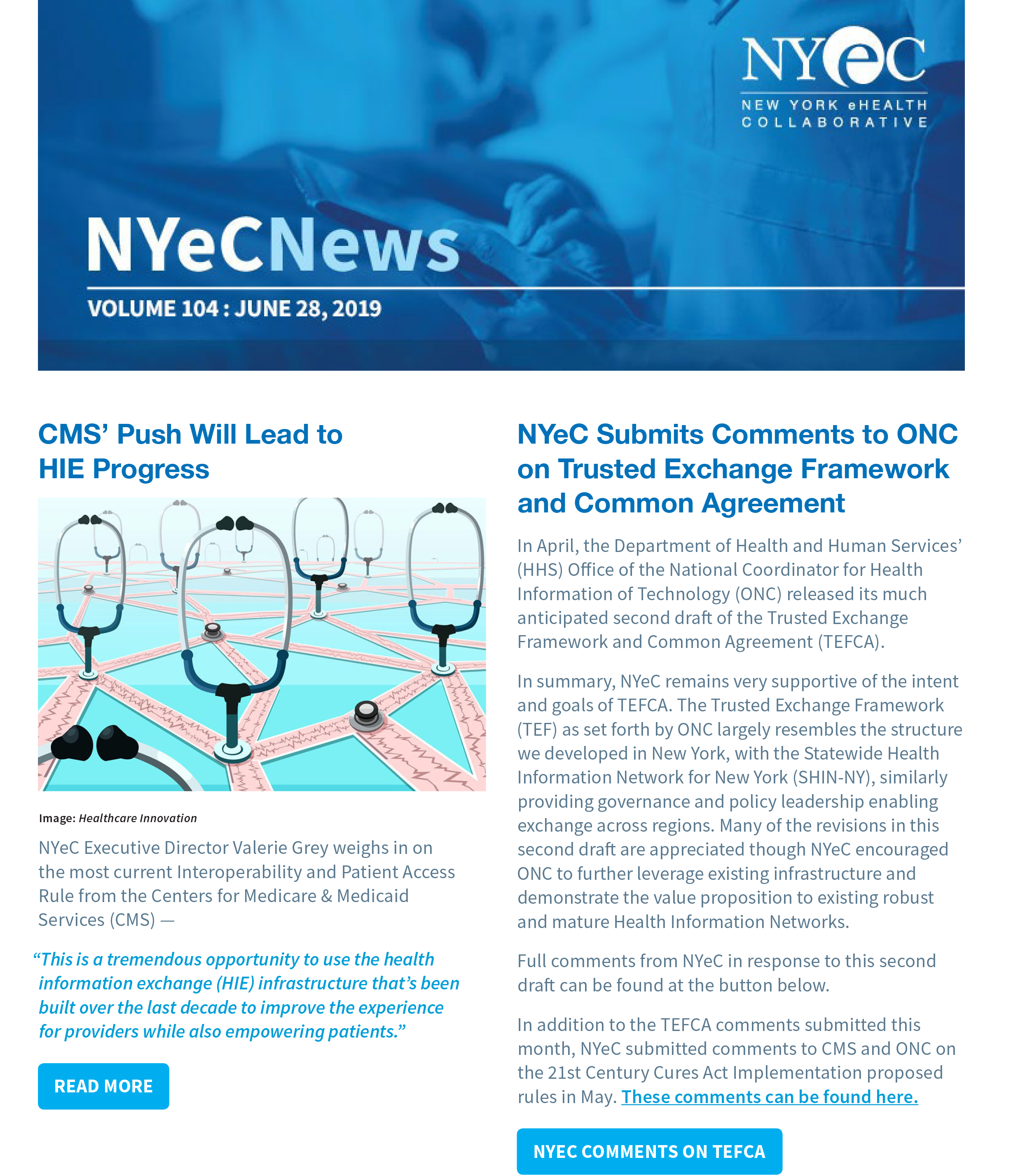 Cover of the 104th Volume of NYeC News - June 2019